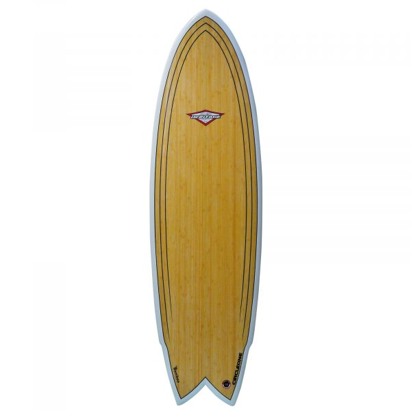An image of the 6 ft 2 inch Bamboo surfboard - deck.