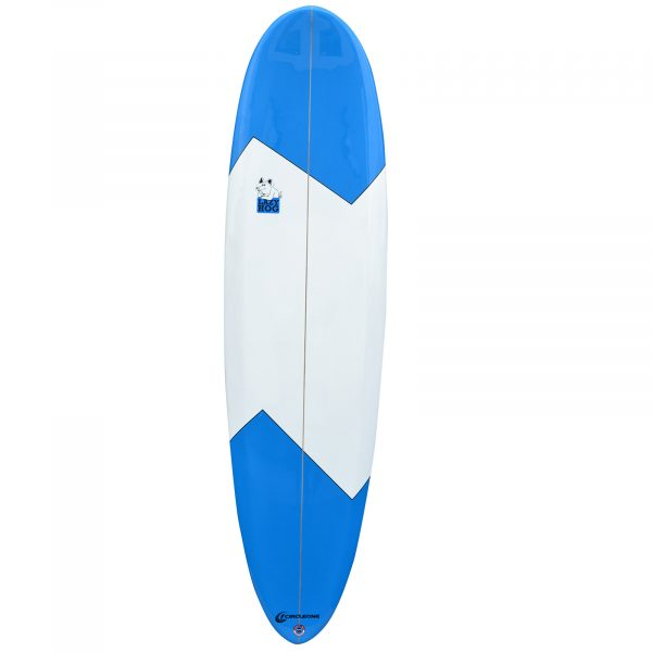 An image of the 7ft 2 inch Lazy Hog Surfboard in blue and white.