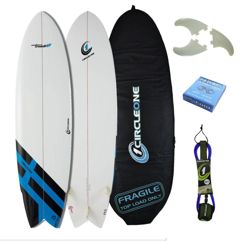 6ft 10inch Circle One Southern Swell Series Wing Swallow Tail Shortboard Surfboard - Gloss Finish
