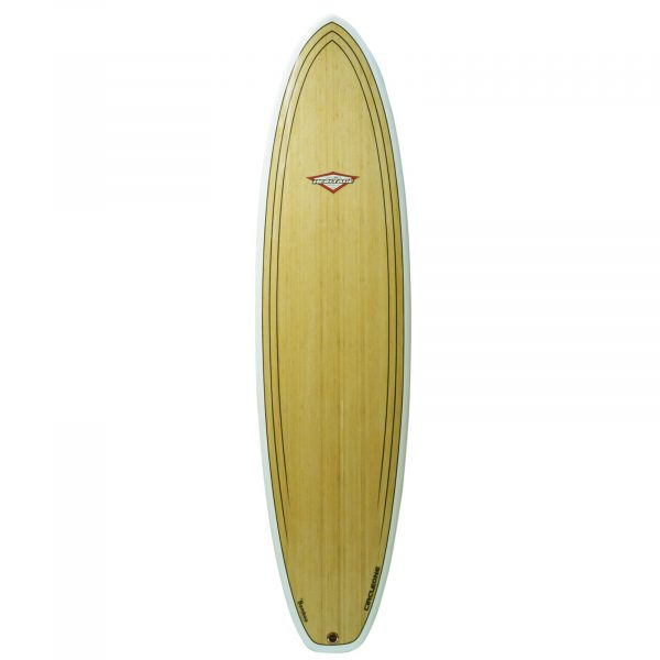 An image of the 7ft 3inch bamboo surfboard deck.
