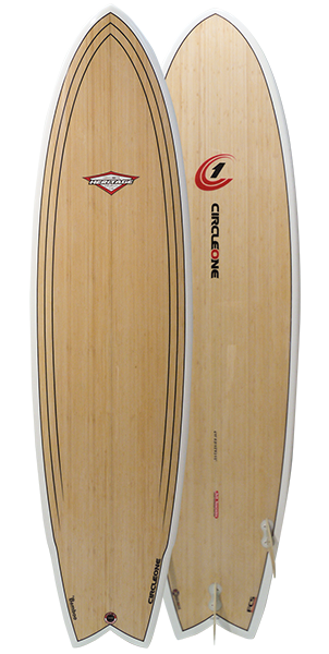An image of the bottom of the 6 ft 11 inch Bamboo Surfboard deck.