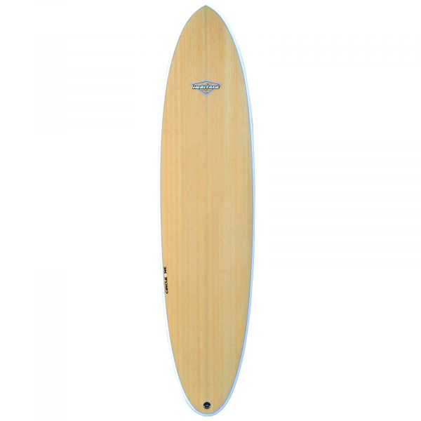 7' 6 BAMBOO Round Pin Tail Mini Mal Surfboard (Silver Graphi