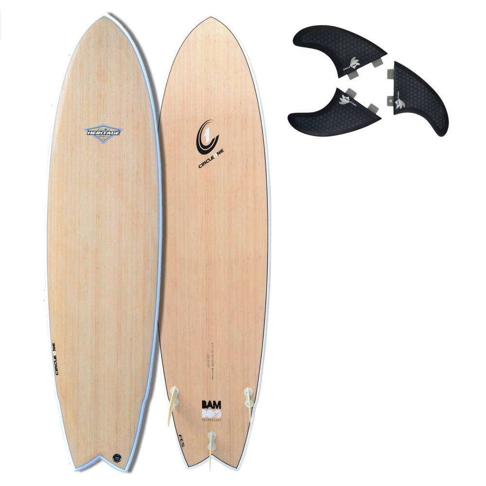 "6' 11"" BAMBOO Wing Swallow Tail Surfboard (Silver Graphic)"