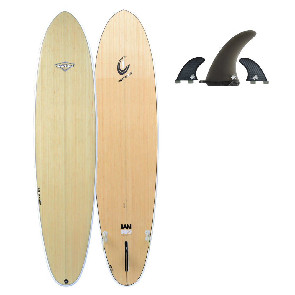 """7' 10"""" BAMBOO Round Tail Mini Mal Surfboard (Silver Graphic)"""