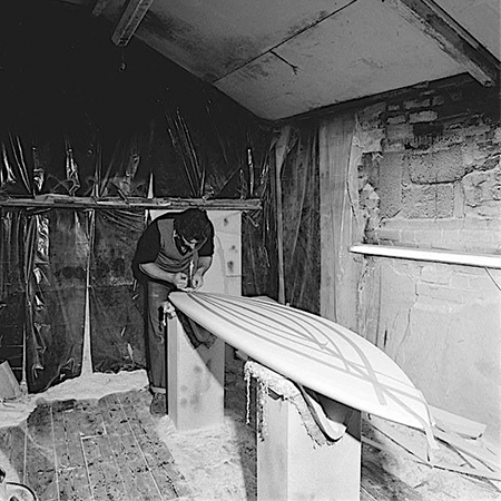 Jeff Townsley, Circle One Founder and Shaper in the Shaping Room (Circa 1975)