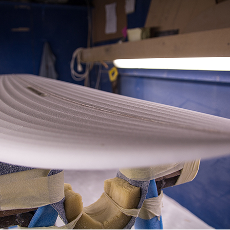 Surfboard blank fresh from the CNC machine - about to be hand finished