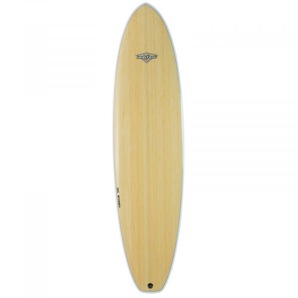 "7' 3"" BAMBOO Squash Tail Mini Mal Surfboard (Silver Graphic)"