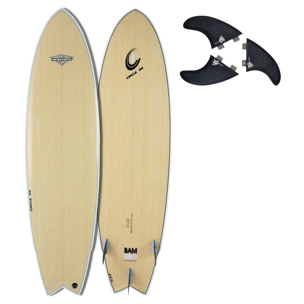 "6' 8"" BAMBOO Wing Swallow Tail Surfboard (Silver Graphic)"