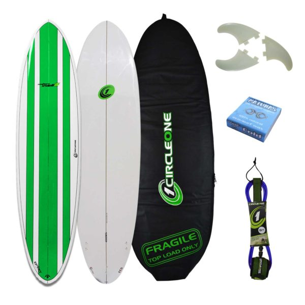 7ft 2inch Circle One Southern Swell Series Round Squash Tail Funboard Surfboard Surf Package - Bag, leash, wax & fins included