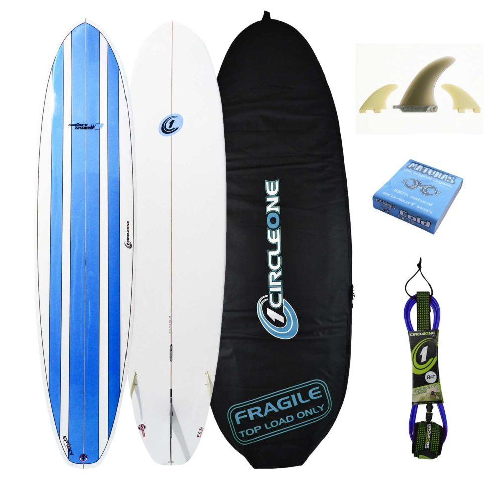 8ft Circle One Southern Swell Series Round Squash Tail Mini Mal Surfboard Package - Bag, leash, wax & fins included