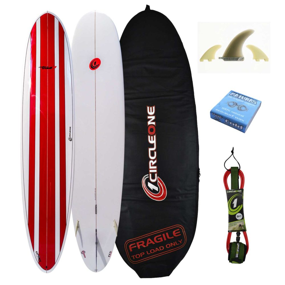9ft Circle One Southern Swell Series Round Tail Longboard Surfboard Package - Bag, leash, wax & fins included