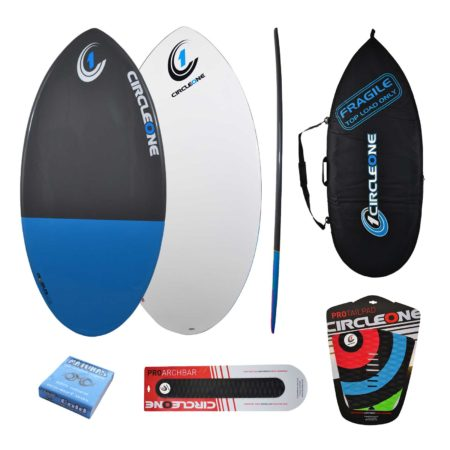 43inch Epoxy+Fibreglass EPS Skimboard Package – Bag, Wax, Tailpad & Archbar Included