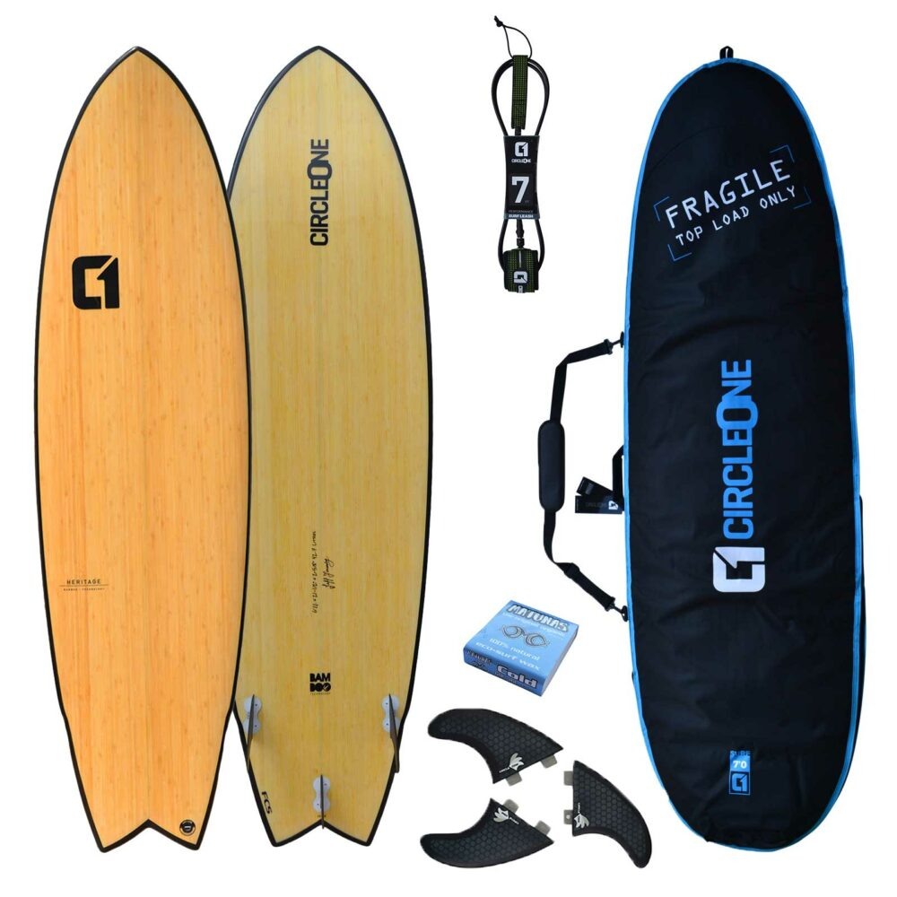 """6' 11"""" Bamboo Wing Swallow Tail Surfboard Package - Includes Bag, Leash, Fins & Wax"""