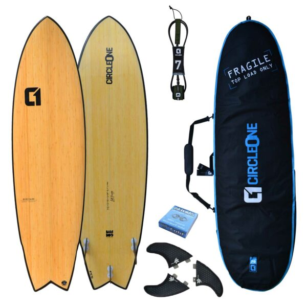 "6' 11"" Bamboo Wing Swallow Tail Surfboard Package - Includes Bag, Leash, Fins & Wax"