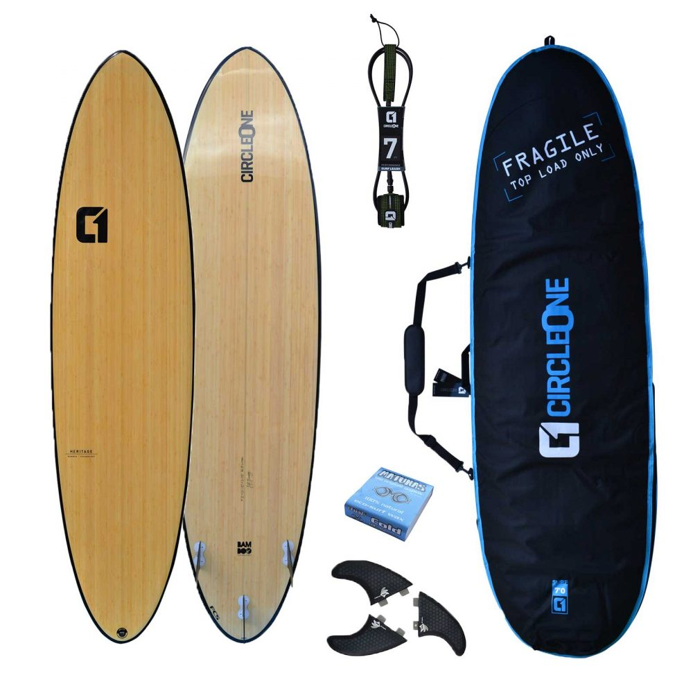 """7' 2"""" Bamboo Round Tail Mini Mal Surfboard Package - Includes Bag, Leash, Fins & Wax"""
