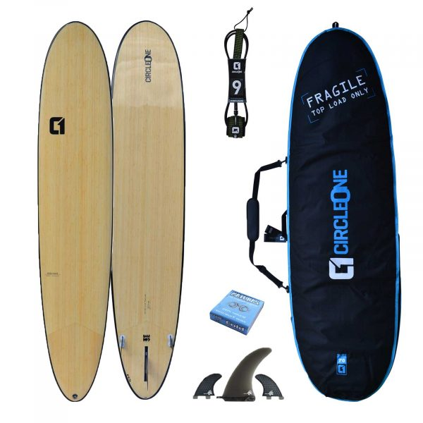 "7' 3"" BAMBOO Squash Tail Mini Mal Surfboard Package - Includes Bag, Leash, Fins & Wax"