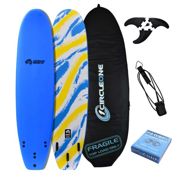 8' Australian Board Co Soft Performance Surfboard Package - Includes bag, leash, fins & wax