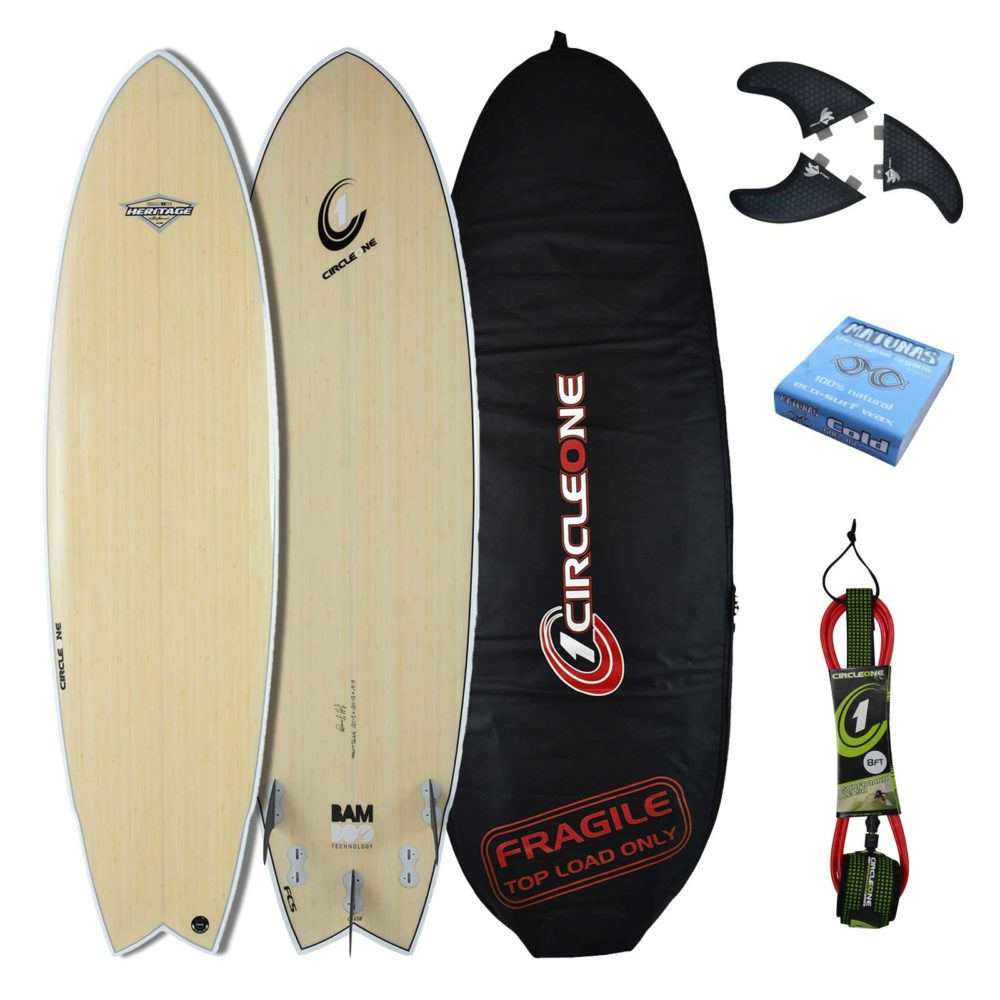 "6' 2"" BAMBOO Wing Swallow Tail Shortboard Surfboard Package - Includes Bag, Leash, Fins & Wax"