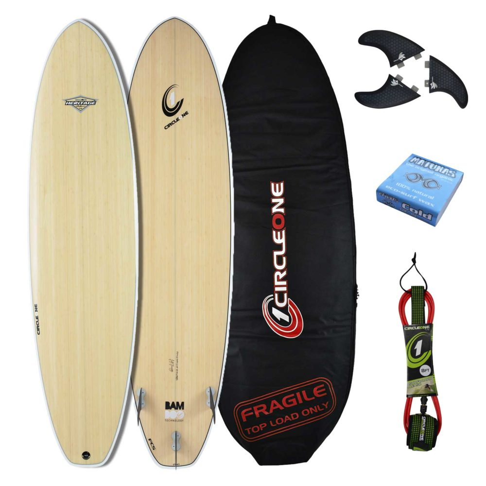 """6' 2"""" BAMBOO Wing Swallow Tail Shortboard Surfboard Package - Includes Bag, Leash, Fins & Wax"""
