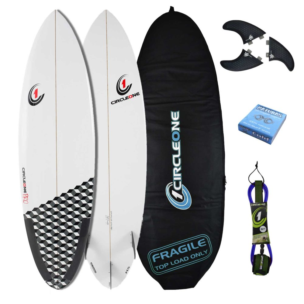 5ft 10inch Pro Carbon Surfboard - Round Tail Shortboard Package - Includes Bag, Leash, Fins & Wax