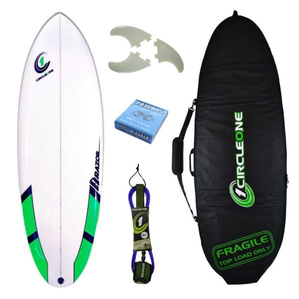 5ft 8inch Razor Surfboard Round Tail Shortboard - Matt Finish - Package Includes Bag, Fins, Wax & Leash