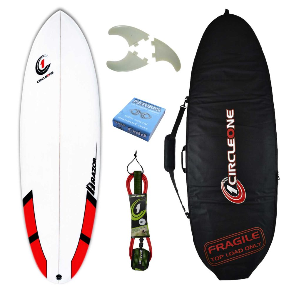 6ft Razor Surfboard Round Tail Shortboard - Matt Finish - Package Includes Bag, Fins, Wax & Leash