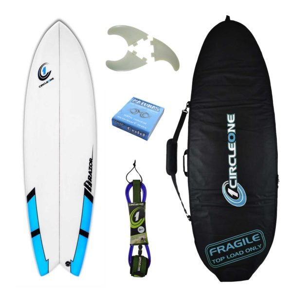 6ft 3inch Razor Surfboard Fish Tail Shortboard - Matt Finish - Package Includes Bag, Fins, Wax & Leash