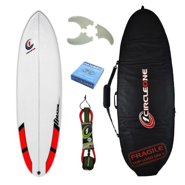 6ft 6inch Razor Surfboard Round Tail Shortboard - Matt Finish - Package Includes Bag, Fins, Wax & Leash