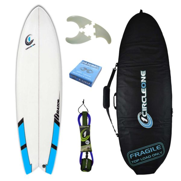 6ft 6inch Razor Surfboard Fish Tail Shortboard - Matt Finish - Package Includes Bag, Fins, Wax & Leash