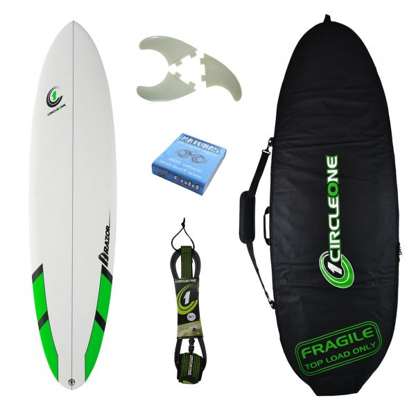 7ft 6inch Razor Mini Mal Matt Finish Surfboard - Round Tail - Package Includes Bag, Fins, Wax & Leash