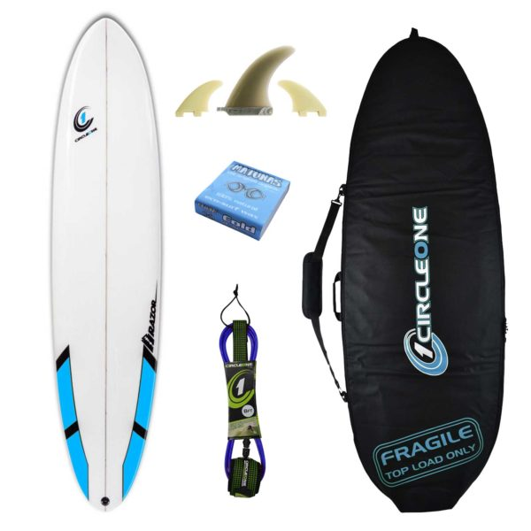 8ft Razor Mini Mal Surfboard with Round Tail Matt Finish - Package Includes Bag, Fins, Wax & Leash
