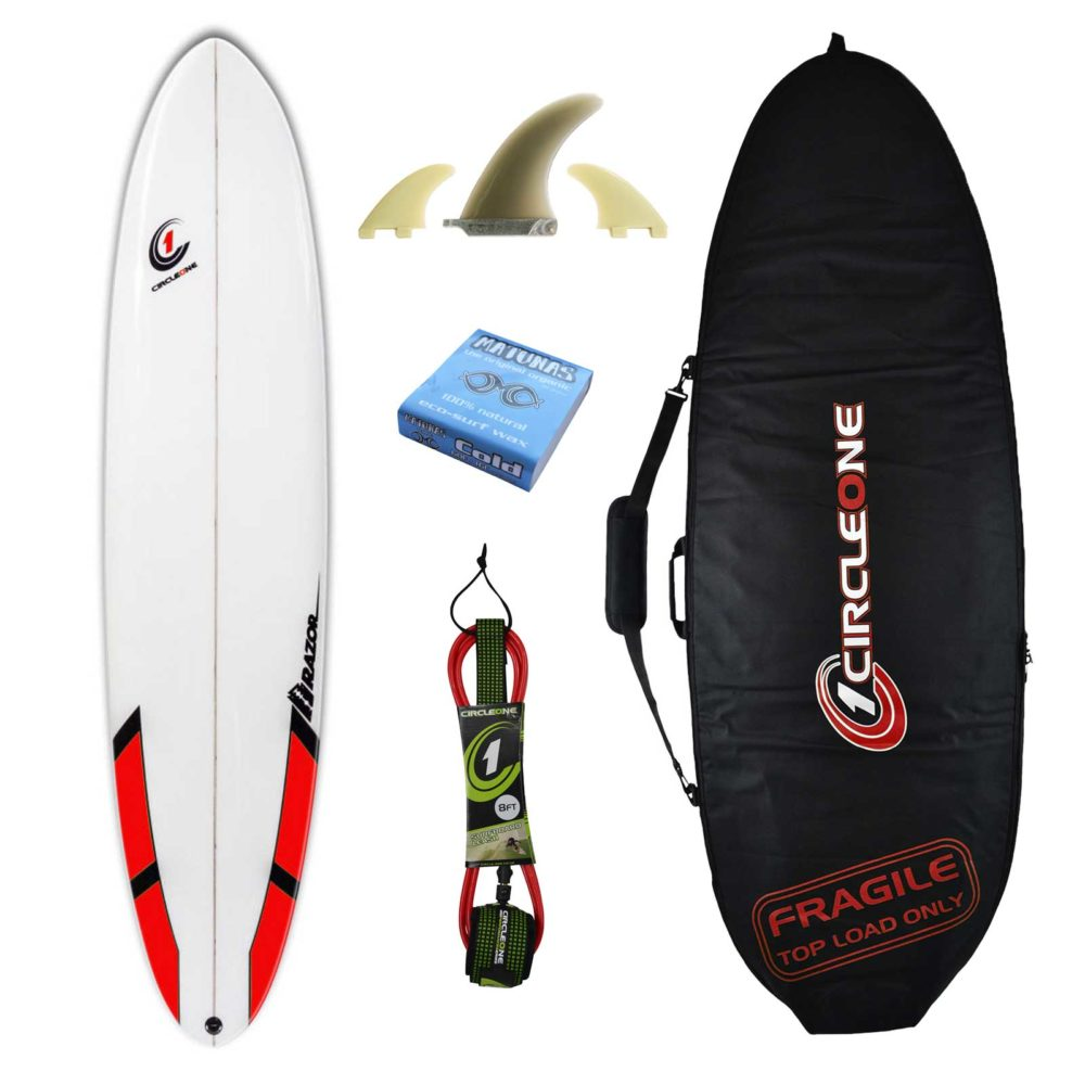 9ft Razor Longboard Surfboard Matt Finish with Round Tail - Package Includes Bag, Fins, Wax & Leash