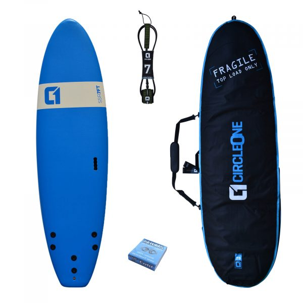 "9' x 26"" SSR Beginner Softboard Surfboard Wide 2020 Package - Includes Bag, Leash, Fins & Wax"