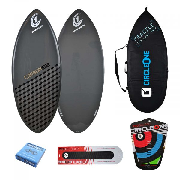 Carbon Fibre Epoxy Skimboard Package in Cobalt Grey - Includes Bag, Archbar, Traction Pad & Wax