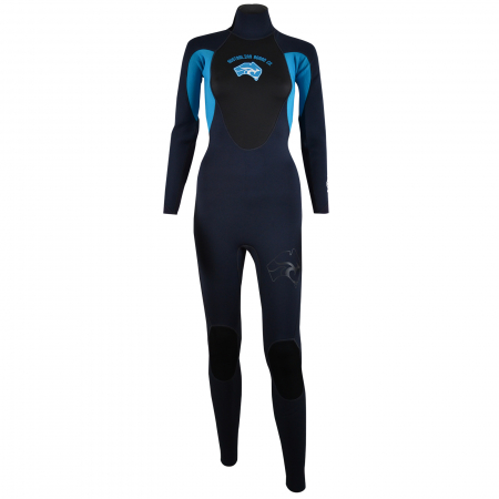 An image of the front of the 2017 Pulse women's wetsuit in blue.