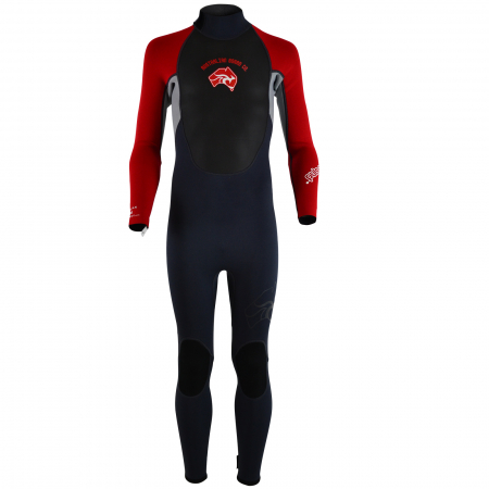 An image of the Puls kids wetsuit in red.