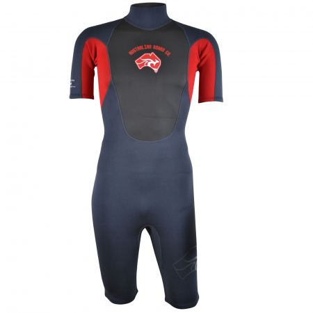 An image of the front of the Pulse men's shorty wetsuit in red.