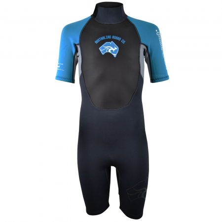 An image of the front of the 2017 Pulse kids summer shorty wetsuit.