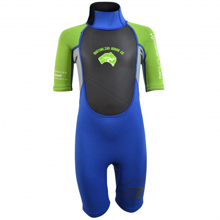 An image of the front of the 2017 Pulse tots wetsuit in green and blue.