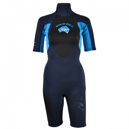 An image of the 2017 Pulse women's shorty wetsuit in blue